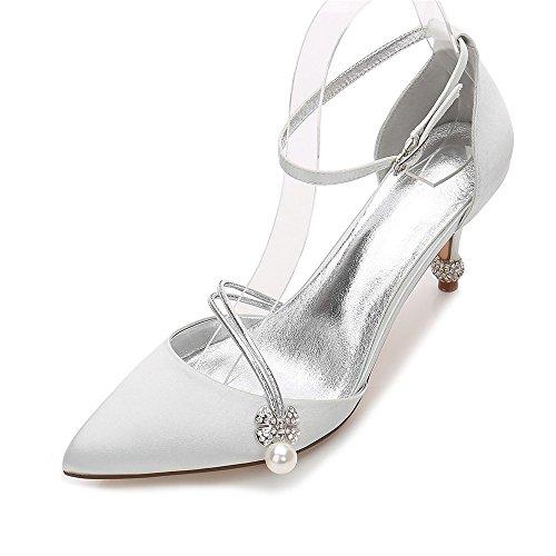 Chaussures De À Femmes On Close Talons Bal De Zxstz Mariage Mariée Pompe Robe De De Classiques Talons Argent Chaussures Slip Haut Soirée Toe Chaussures xZFwnAA