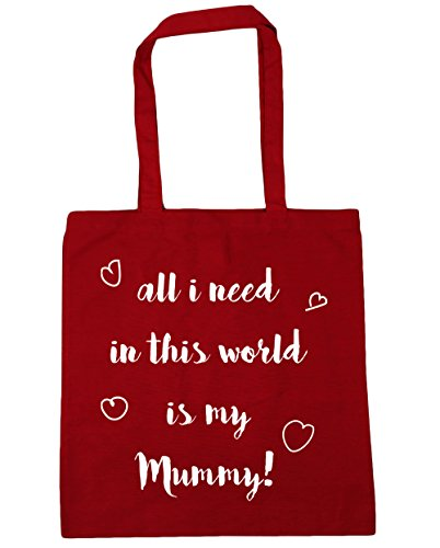 HippoWarehouse All I Need en este mundo es mi Mummy bolsa de la compra bolsa de playa 42cm x38cm, 10litros Classic Red