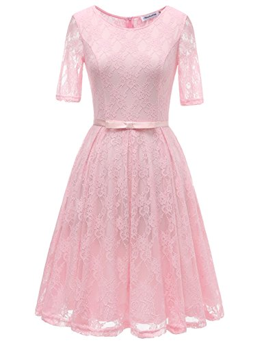 Bbonlinedress Women's Vintage Floral Lace Short Sleeve Bridesmaid Cocktail Dress Pink XS