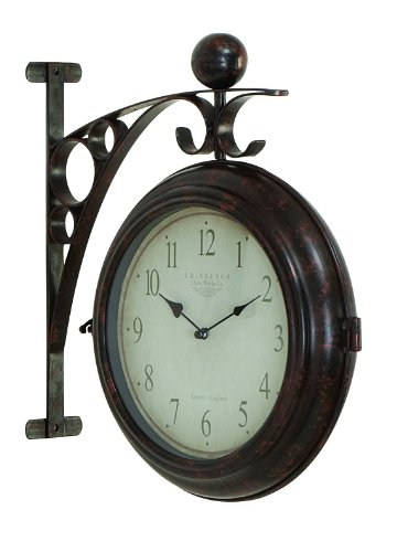 (Deco 79 Metal Wall 2-Side Clock Designed with Antique Look)