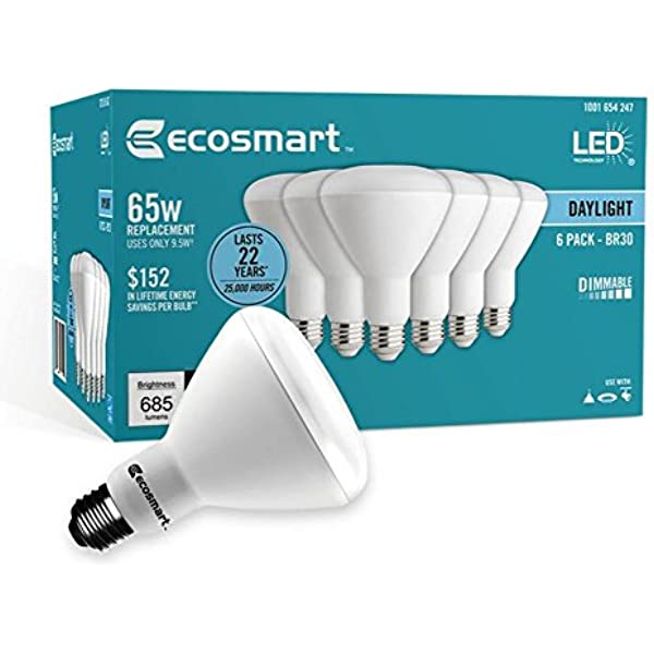 12 Bulbs Ecosmart 65 Watt Equivalent Br30 Dimmable Led Light Bulb Daylight Amazon Com