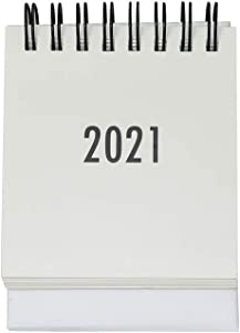 MultiBey Mini Desk Calendars 2021 Year Steel Coil Spiral Daily Flip Calendar Desktop Business Planner with Self-Standing Easel (White, Mini)