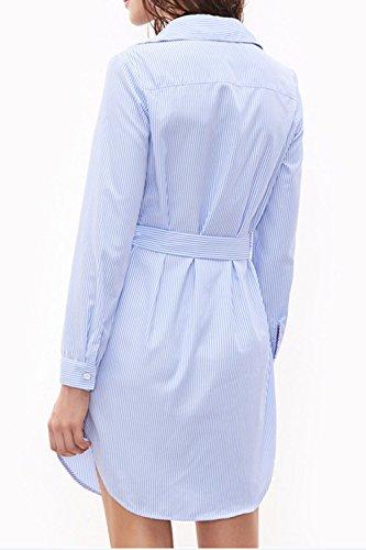 La Mujer Es Elegante Bordado 3 / 4 Manga Camiseta De Verano Vestido Con Cinturón Blue