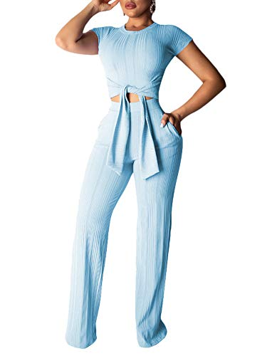 Succi Women's Casual Threads Jumpsuits Short Sleeve Crop Tops and Wide-Leg Long Pants 2 Piece Bodycon Rompers Set Blue ()
