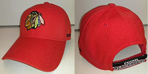 (Reebok Chicago Blackhawks Red Structured Basic Logo Adjustable Hat)