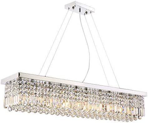 Moooni Rectangular Crystal Chandelier Lighting Modern Raindrop Pendant Lighting Fixture for Dining Room Polished Chrome L47.3 x W9.8 x H9.8