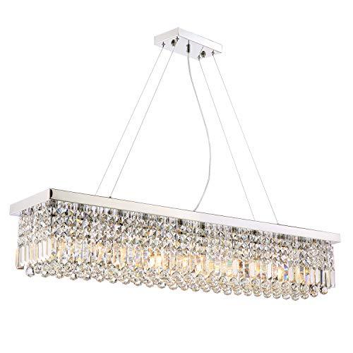 (Siljoy Rectangular Crystal Chandelier Lighting Dining Room Pendant Lighting L47