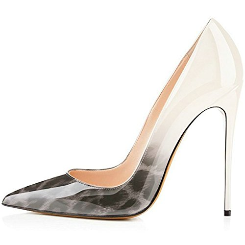 Heels Pumps Platform Party Greyleopadwhite Pointy Dress Shoes High AIWEIYi Wedding Women's Stiletto toe TEqAACw
