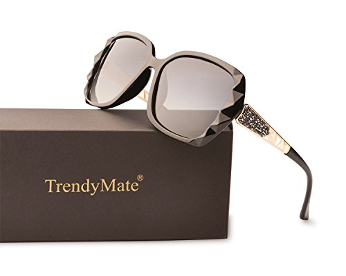 TrendyMate Women Luxury Classic Oversized Polarized Sunglasses 100% UV Protection Fashion Eyewear (Black Frame/Gray Lens, 55)