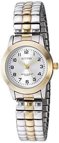 Sutton by Armitron Women's SU/1008SVTT Easy to Read Two-Tone Expansion Band Watch ()