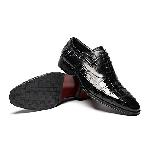 Shoes; HANMCE Toe;Low Lacing up; Embossed Leather; Pattern Round Oxford Black Heel; Top Genuine Low aawqxRt1