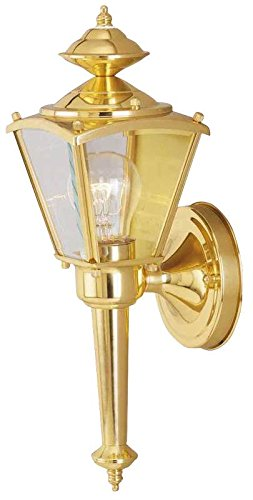 Boston Harbor 4003H2 3081395 Dimmable Outdoor Lantern, (1) 60/13 W Medium A19/Cfl Lamp, Polished, Brass ()