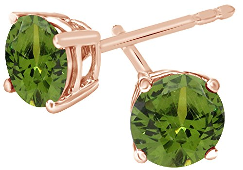 (Simulated Green Peridot Round Shape Stud Earrings In 14K Rose Gold Over Sterling Silver (4 Ct))