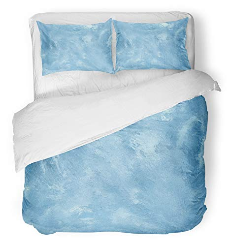 Ice Cracked Sets Gold (Emvency 3 Piece Duvet Cover Set Brushed Microfiber Fabric Breathable Blue Frost Ice Frosty Gray Glass Sheet Frozen Snow Gem Crystal White Bedding Set with 2 Pillow Covers Full/Queen Size)