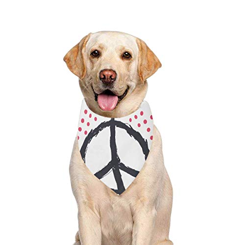 - JTMOVING Dog Scarf Tshirt Design Peace Sign Isolated Printing Dog Bandana Triangle Kerchief Bibs Accessories for Large Boy Girl Dogs Cats Pets Birthday Party Gift