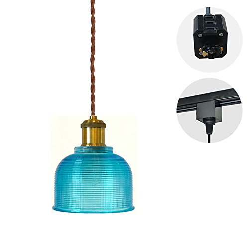STGLIGHTING 1-Light H-Type Track Lighting Handmade Sky Blue Glass Shade Pendant 4.9 Feet Brown Weave Cord Chandelier Decorative Bulb Not Included