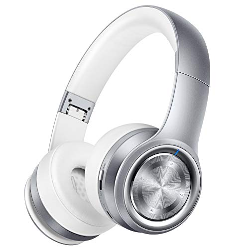Headphones Silver Headphones (Picun P26 Bluetooth Headphones Over Ear 40H Playtime Hi-Fi Stereo Wireless Headphones Deep Bass Foldable Wired/Wireless/TF for Cell Phone/PC Bluetooth 5.0 Wireless Headset with Mic (Platinum Grey))