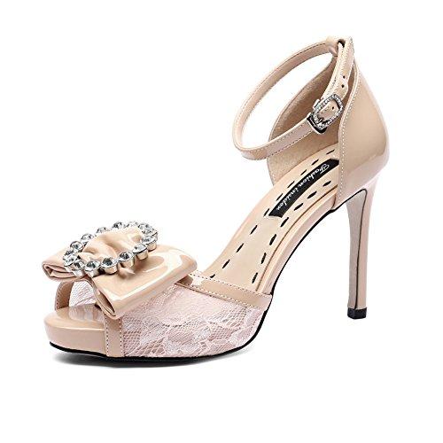 Apricot Boda Fiesta Vestido Zapatos Nvxie Trabajo Del Plataforma Mujer Tacones Altos Tacón Verano Sandalias De Alto CZpCFfqw