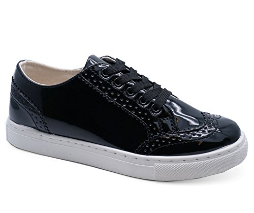 Loafers 8 Flats Umerkede Størrelsene Plimsolls Sko Trenere Brogue Damer 3 Patent Sorte Pumper F4qR7