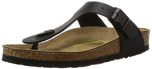 Birkenstock womens Gizeh in Black from Birko-Flor Thong 36.0 EU W