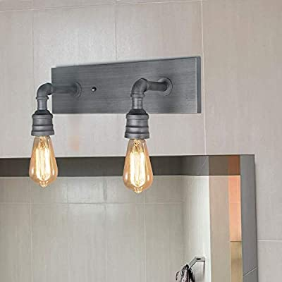 LALUZ Vanity Wall Sconce, Industrial Bathroom Lights Wall Lighting Fixture Metal Wall Mount Lamp, Silver Brushed