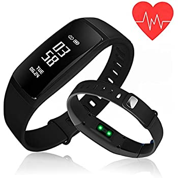 Fitness Tracker,Kirlor Blood Pressure Heart Rate Monitor Waterproof Activity Tracker,Bluetooth Wireless Smart Wristband Bracelet with Replacement Band for Android & IOS