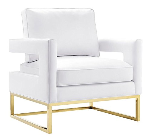 TOV Furniture The Avery Collection Modern Style Living Room Den Leather Upholstered Armchair with Gold Legs, White
