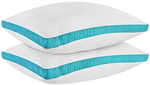 Utopia Bedding Gusseted Quilted Pillows - Set of Premium Quality Bed Pillows for Side and Back Sleepers (Cyan, Standard/Queen - 18 x 26 Inches)