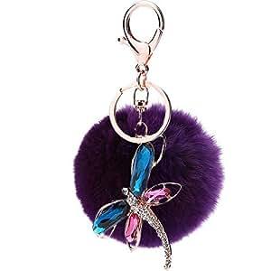 Llavero de peluche suave con diseño de libélula, morado ...