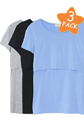 Smallshow 3 Pcs Maternity Nursing T-shirt Modal Short Sleeve Nursing Top Black/Blue/Grey,Large