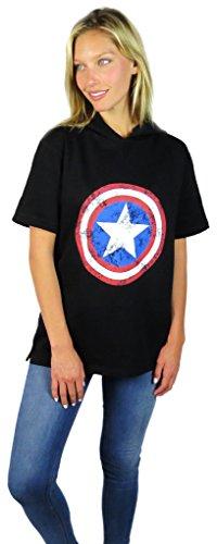 Captain America Short Sleeve Hoodie Black (Medium, Black)