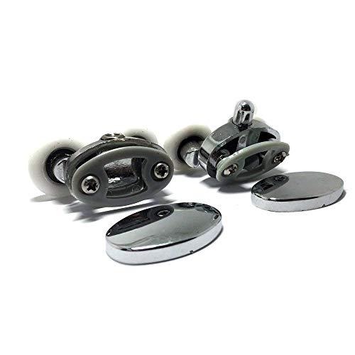 (Smooth Set of 4 new Oval Metal alloy double wheel Shower door rollers 23mm)