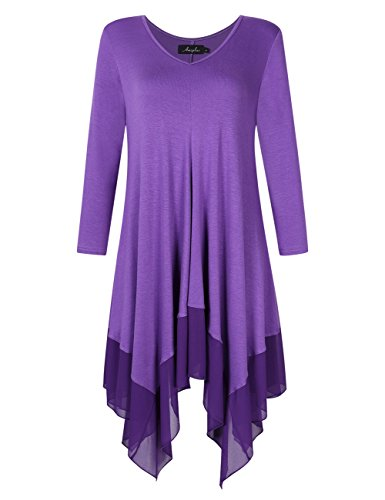 AMZ PLUS Womens Plus Size Irregular Hem Long Sleeve Loose Shirt Dress Top Purple-1 5XL