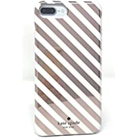 Kate Spade New York Diagonal Stripe Protective Rubber Case For iPhone 7 Plus & iPhone 6s Plus - Rose Gold Cream