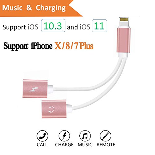 Dual Lightning Charge & Audio Cable, Lightning to Double Lightning 2 Lightning Port For iPhone 7/ iPhone 7 Plus/ iPad, Support Music Control, Charger and Phone Communication (Rose Gold) (Communications Port)