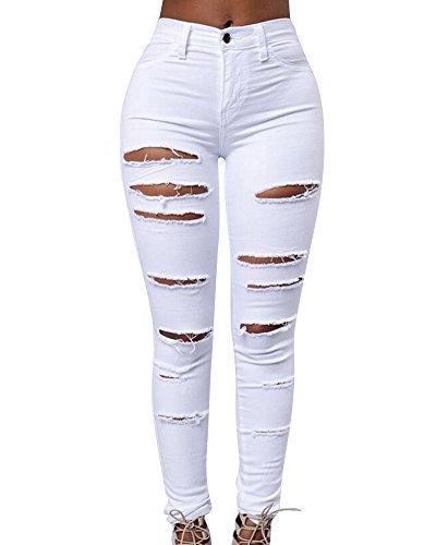 Jeans Strappato Pantaloni Denim Lunghi Matita Sottili Donna Boyfriend Leggings Stretch Bianco F5zO7q