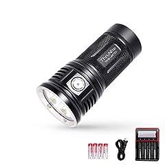 Specifications:  LED: CREE XHP 70B.  Runs on: 4 x IMR 18650 (ThruNite 18650 3100Mah).  Reflector: Orange peel reflector.  Working Voltage: 10.5-17.5V  Output mode/Runtime*: Turbo (11000 lumen; 85 minutes) Infinity High (8000 lumen; 90 min...