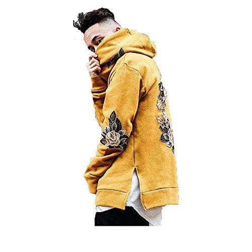 - Lueyif Men's Floral Patched Pullover Hooded Sweatshirt Long Sleeve Streetwear Hoodie