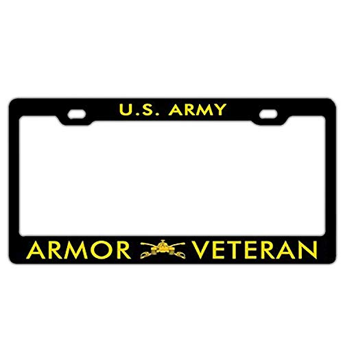 Crysss License Plate of Car Decoration - Custom License Plate Car Tag - Design US Car License Plate Cover for Auto Car Motorcycle - US Army Armor Veteran