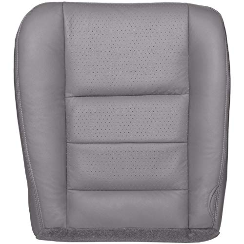 The Seat Shop Driver Bottom Replacement Perforated Leather Seat Cover - Medium Flint Gray (Compatible with 2002-2007 Ford F250 and F350 Lariat Crew Cab)