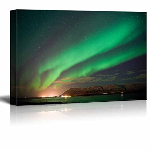 Canvas Prints Wall Art - Beautiful Scenery/View of the Aurora Borealis or the Northern Lights North of Reykjavik in Iceland | Modern Wall Decor/ Home Decoration Stretched Gallery Canvas Wrap Giclee Print & Ready to Hang - 12