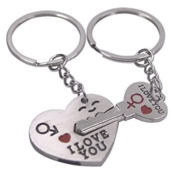 CAETLE® Valentine's Day Lover Love Key to My Heart Cute Couple Keychain Love Keychain Key Ring Her He Set