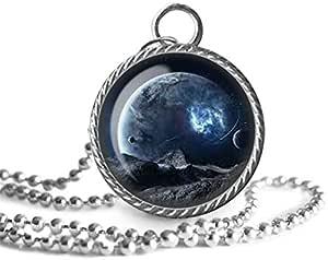 Collar de galaxia, planeta, colgante de imagen espacial, joyería de cristal, un regalo para ella