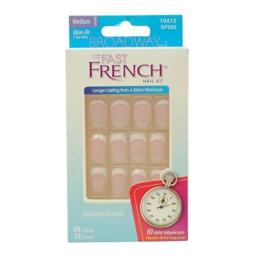 Broadway Fast French, Medium, True Pink, 24 Nail Kit by Kiss ()