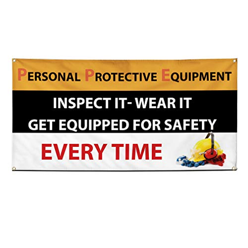 (Vinyl Banner Sign Personal Protective Equipment Safety Marketing Advertising Black - 24inx48in (Multiple Sizes Available), 4 Grommets, One Banner)