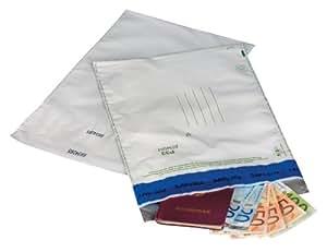 PostSafe Tamper-evident Ref P33S - Sobre de seguridad C4+ (20 unidades, polietileno, 378 x 252 x 18 mm, numerado secuencialmente, doble cierre autoadhesivo, opaco), color blanco