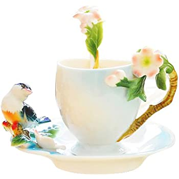 Glodeals (TM) Porcelain Enamel Delicate Bird Tea Coffee Cup Set with Saucer and Spoon