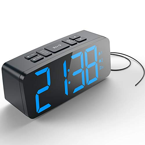 - HAPTIME Digital Alarm Clock with FM Radio Dual-Alarm Snooze Large LED Display 12hr 24hr Format and Brightness Adjustable for Bedroom, Powered by USB Port and Backup Battery for Clock-Setting (Black)