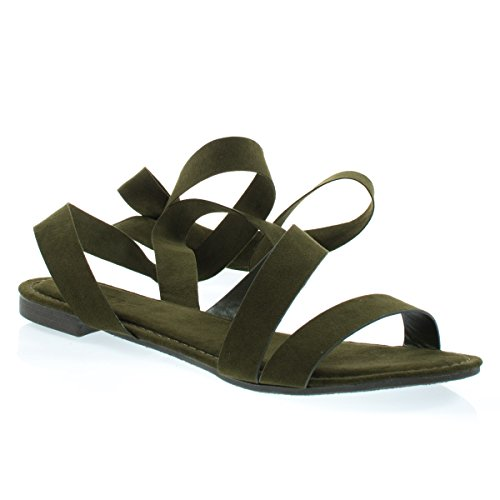 Womens Open Toe Leg Wrap Lace Up Flat Sandal Olive F-suede isEMA