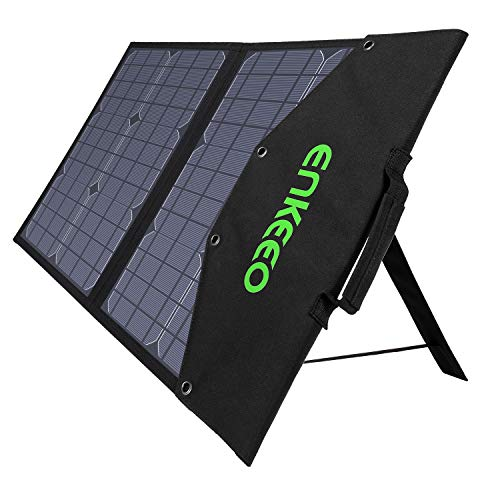 ENKEEO 50W Solar Charger, Foldable Solar Panel with MPPT Controller and TIR-C, DC, USB QC 3.0 and 2.0 Output Ports, Multiple Connection Cables for Smartphones, Laptops, Car Battery, Power Stations
